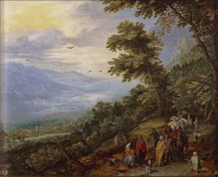 Recua y gitanos en un bosque (detalle). Jan Brueghel el Mozo. Siglo XVI. Museo del Prado.